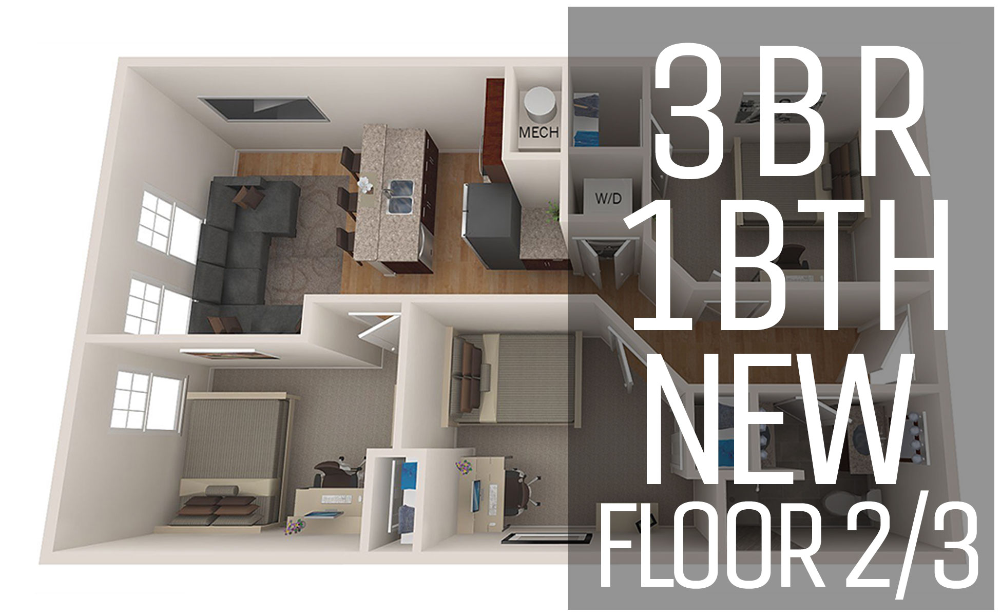 New Model U2013 Floor 2/3 3 Bedroom 1 Bath