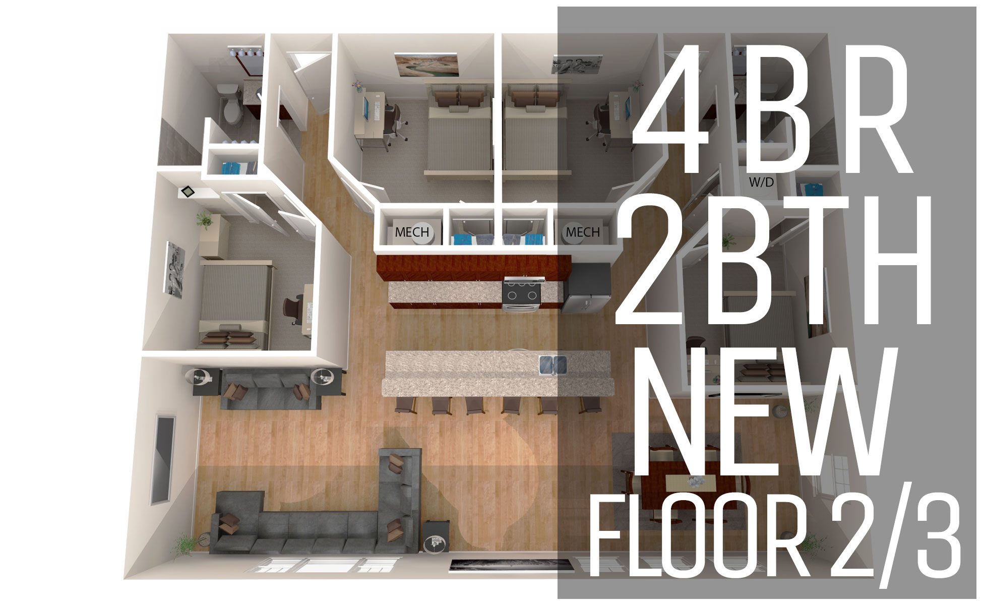 New Model U2013 Floor 2/3 4 Bedroom 2 Bath