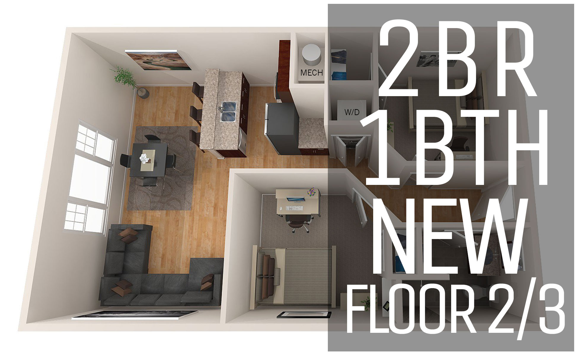 Rivers Edge Apartments New Model Floor Plans 2 Bedroom / 1bath / Floor 1/2